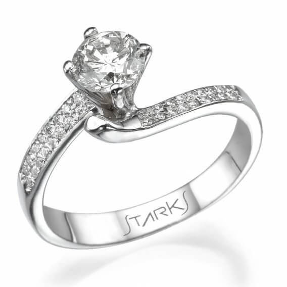טבעת אירוסין קלאסית מעוטרת זהב ויהלומים אדיסון