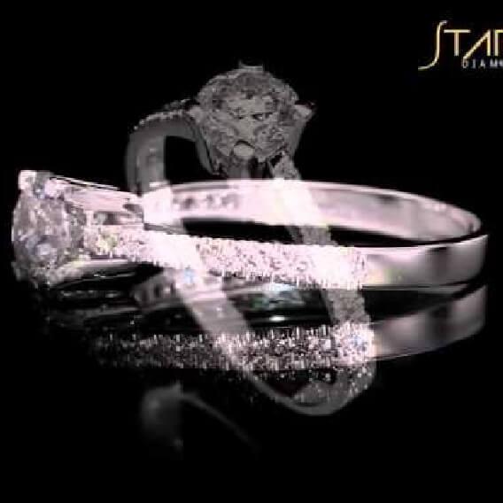 טבעת אירוסין קלאסית משובצת יהלומים 1 קראט זהב צהוב