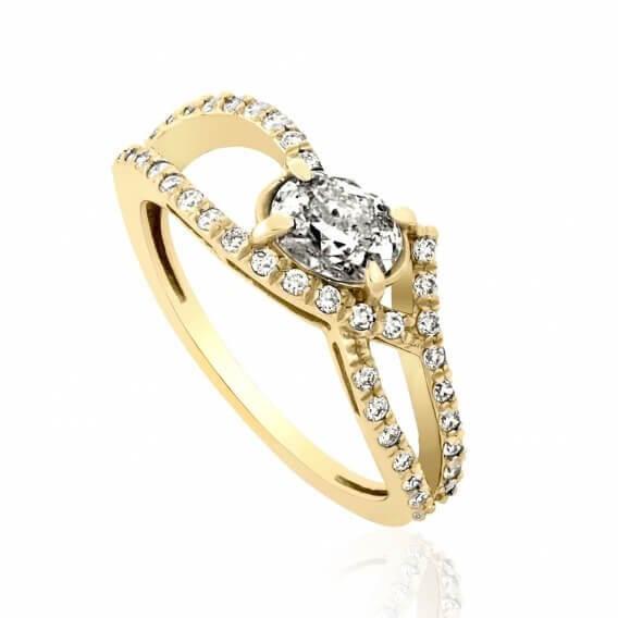 טבעת אירוסין קלאסית 0.99 קראט זהב צהוב אמבר