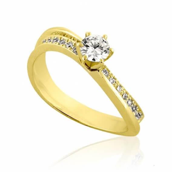 טבעת אירוסין קלאסית 56 נקודות זהב צהוב ליאן