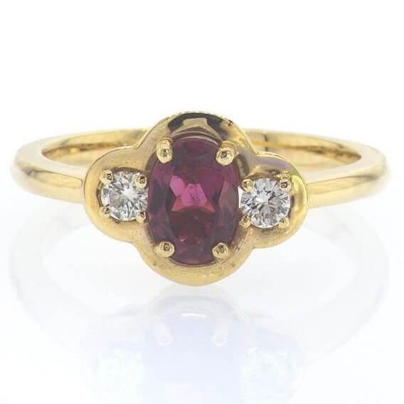 טבעת וינטאג' בשילוב יהלומים ואבני חן 1.08 קראט - טורמלין