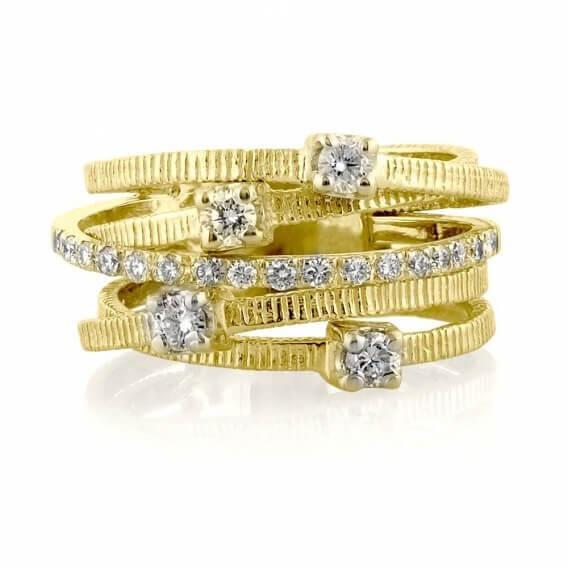 טבעת וינטאג' יוקרתית בשיבוץ יהלומים זהב לבן דינוסה