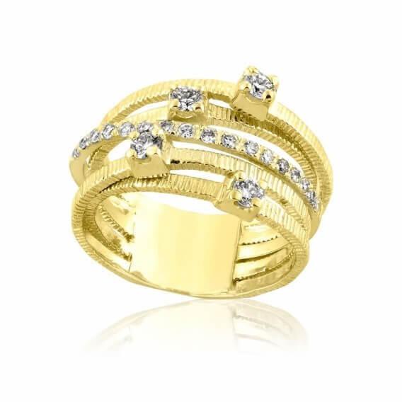 טבעת אירוסין וינטאג' יוקרתית דינוסה זהב צהוב