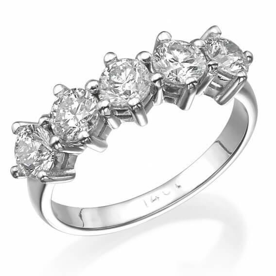 טבעת וינטאג' יוקרתית זהב לבן סטייסי 1.25 קראט
