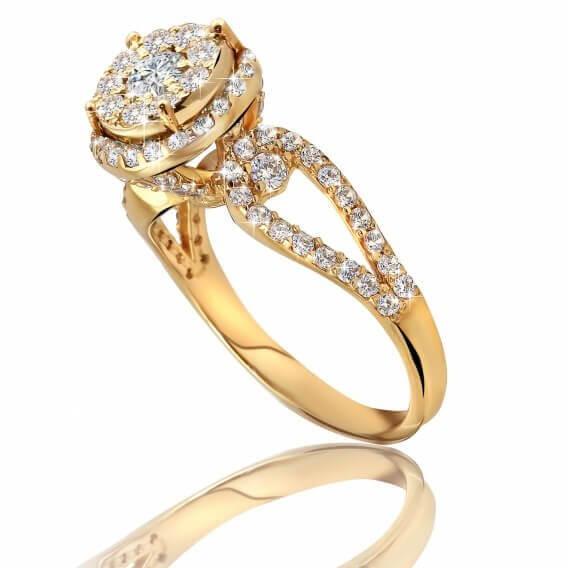 טבעת וינטאג' יוקרתית זהב צהוב 0.78 קראט  אווה
