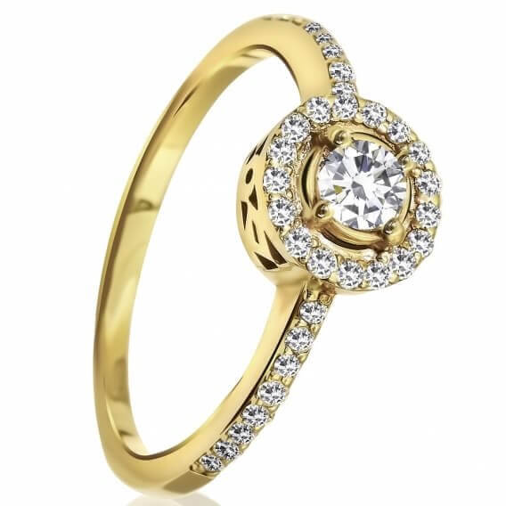 טבעת וינטאג' יוקרתית משובצת יהלומים זהב צהוב לינוי 87 נקודות