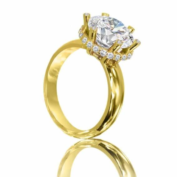 טבעת אירוסין וינטאג' מפוארת בשיבוץ יהלומים בעיצוב מיוחד 0.53 קראט - סקארלט