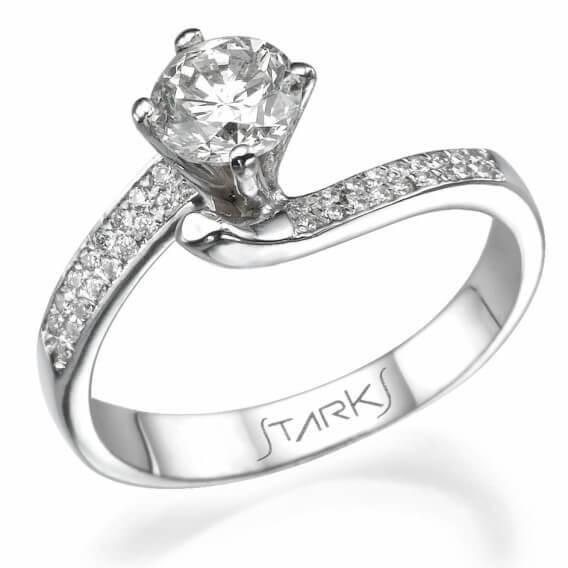 טבעת וינטאג' מפוארת זהב לבן חצי קראט אדיסון