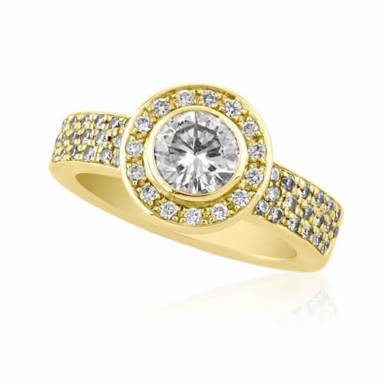 טבעת וינטאג' מפוארת יוקרתית זהב צהוב 1.87 קראט - צ'רי
