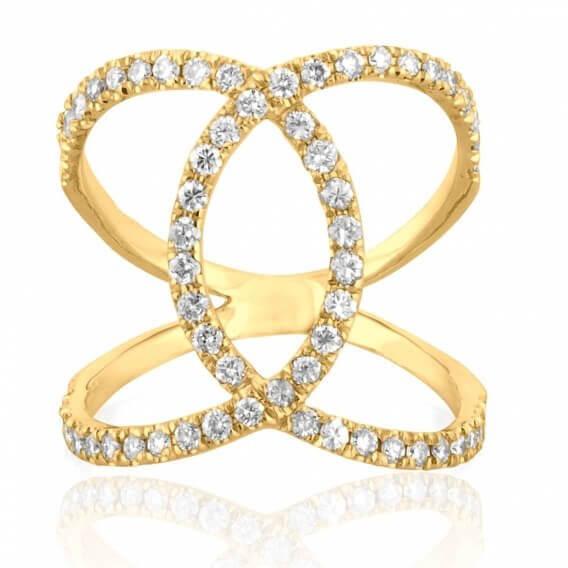 טבעת וינטאג' מפוארת מיוחדת זהב צהוב ונוס 72 נקודות