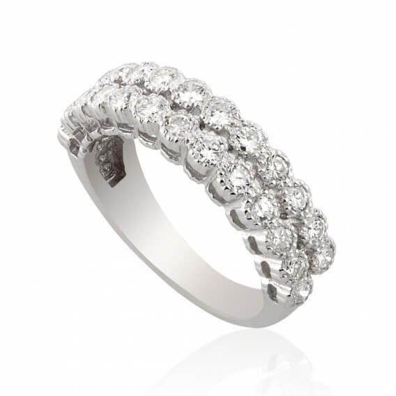 טבעת אירוסין וינטאג' מפוארת שתי שורות יהלומים זהב צהוב