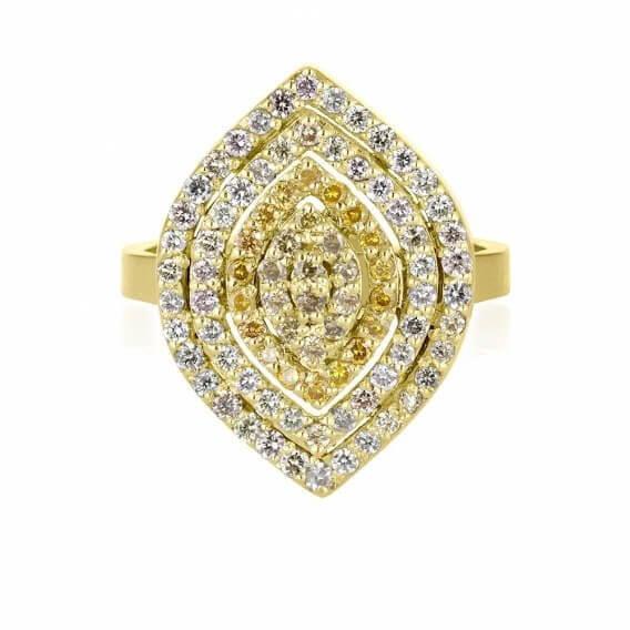 טבעת וינטאג' מרהיבה זהב צהוב 1.23 קראט נמרוס