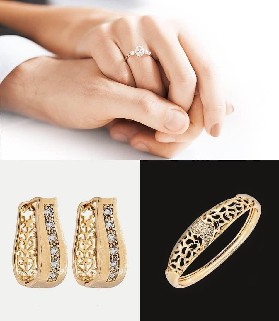 טבעת ועגילי חישוק מזהב בשיבוץ יהלומים