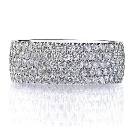 טבעת זהב לבן אלגנטית בשיבוץ יהלומים איליי 1.02 קראט