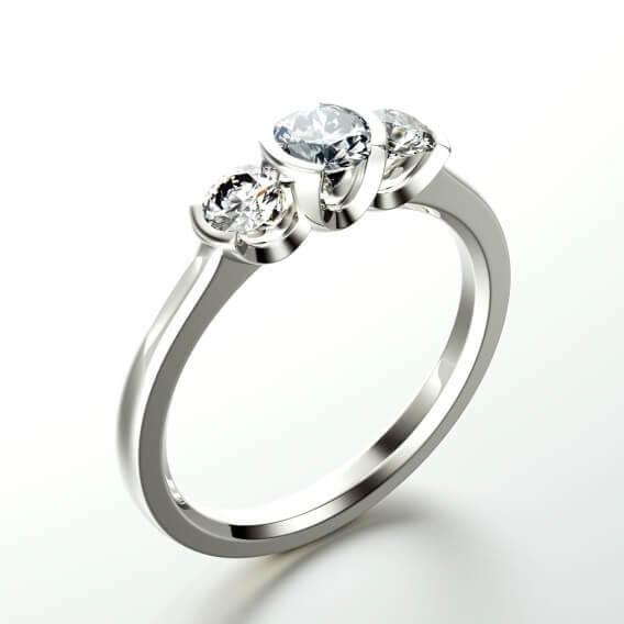 טבעת זהב לבן בשיבוץ יהלומים 0.44 קראט - קריסטין