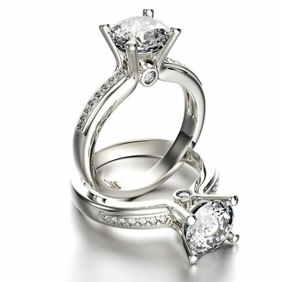 טבעת אירוסין זהב לבן יוקרתית בשיבוץ יהלומים 1.15 קראט - אמארה
