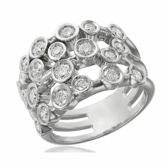טבעת זהב לבן מעוצבת בשיבוץ יהלומים 0.36 קראט - טיילור