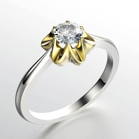 טבעת זהב סוליטר מעוצבת בשיבוץ יהלומים 35 נקודות אוריה