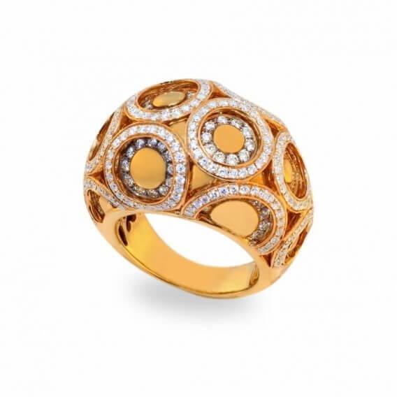 טבעת אירוסין זהב צהוב בשיבוץ יהלומים סאן 1.21 קראט