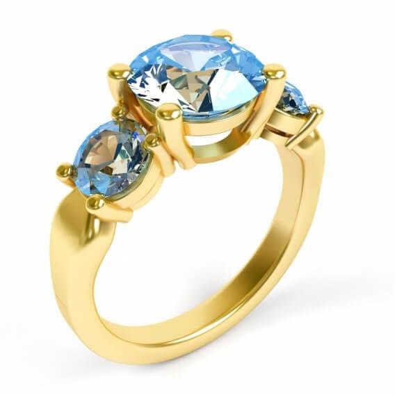 טבעת זהב צהוב בשילוב אבני חן בעיצוב מיוחד 0.46 קראט - אלין
