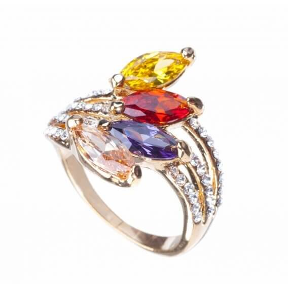 טבעת יהלום בעיצוב מיוחד בשילוב אבני חן מיוחדות אלין 1.62 קראט