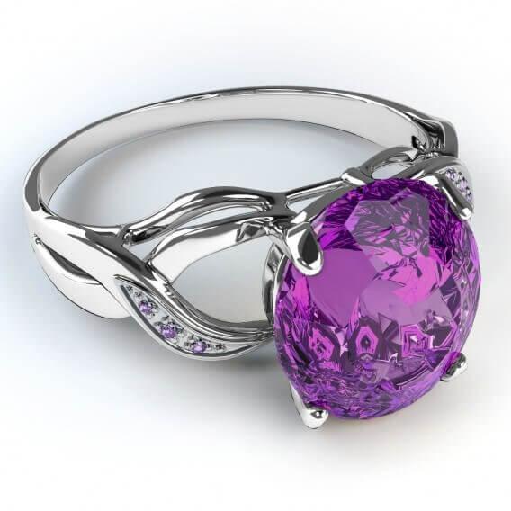 טבעת יהלום בשילוב אבן חן גדולה 1.18 קראט רנה