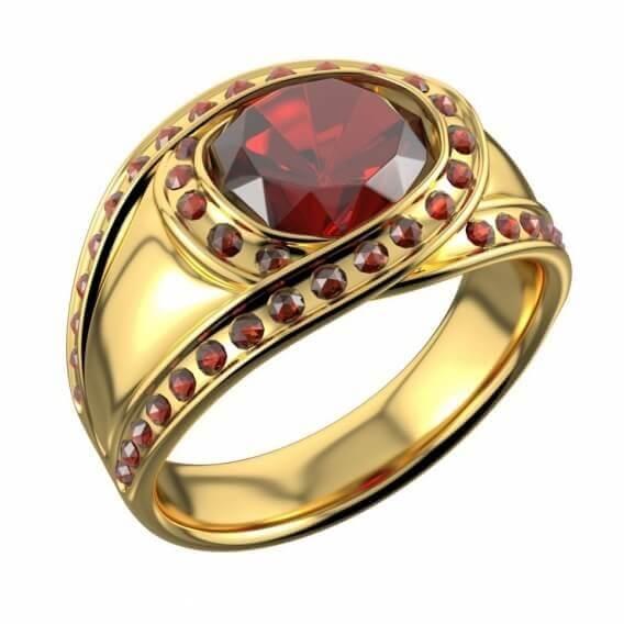 טבעת יהלום בשילוב אבן חן רובי זהב צהוב 1.55 קראט