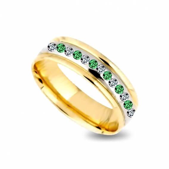 טבעת לגבר עם יהלום בשילוב אבני חן ירוקות 0.72 קראט - ולרי