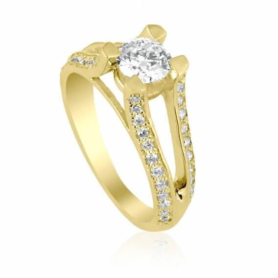 טבעת יהלום וינטאג' בשילוב זהב לבן 1.10 קראט