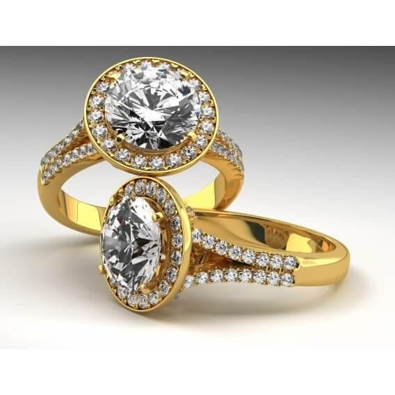 טבעת יהלום וינטאג' יוקרתית זהב לבן 1.55 קראט שילה