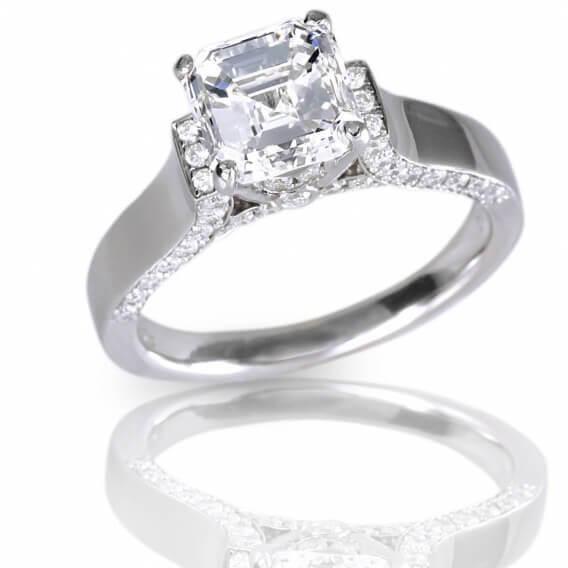 טבעת יהלום וינטאג' יוקרתית זהב קושן 1.04 קראט ליאל