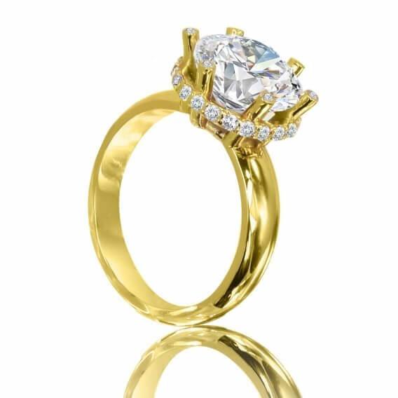 טבעת יהלום זהב צהוב בעיצוב יוקרתי 1.25 קראט