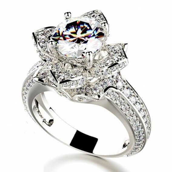 טבעת יהלום יוקרתית בשיבוץ זהב לבן 2.33 קראט - טיבריו
