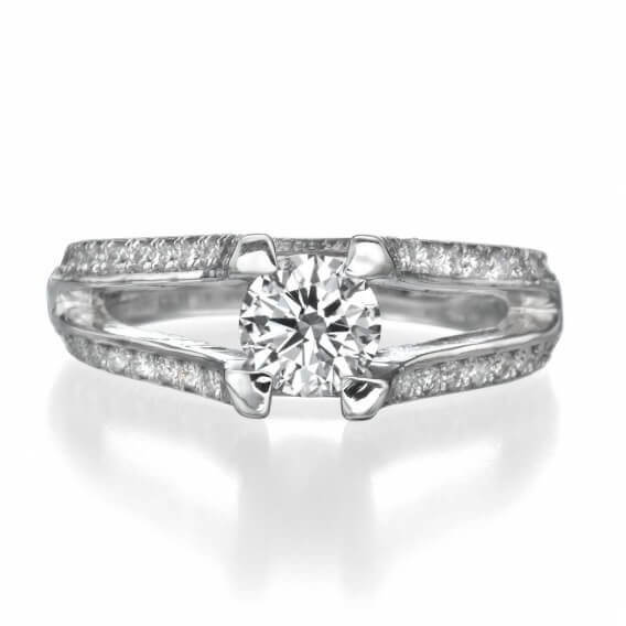 טבעת יהלומים יוקרתית בשילוב זהב צהוב 2 שורות