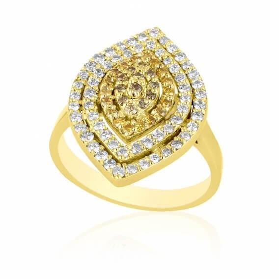 טבעת יהלום מעוצבת בשילוב זהב לבן 1.23 קראט נמרוס