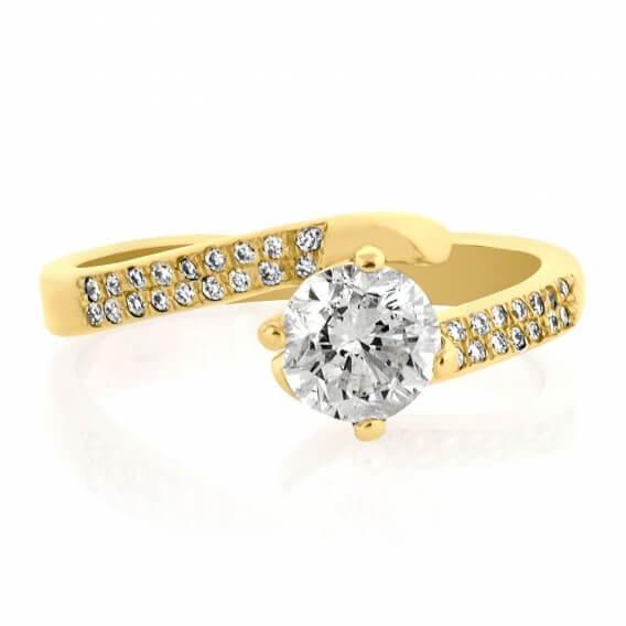 טבעת יהלום מעוצבת משובצת יהלומים וזהב לבן