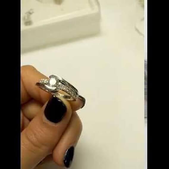 טבעת יהלום מפוארת זהב לבן חצי קראט