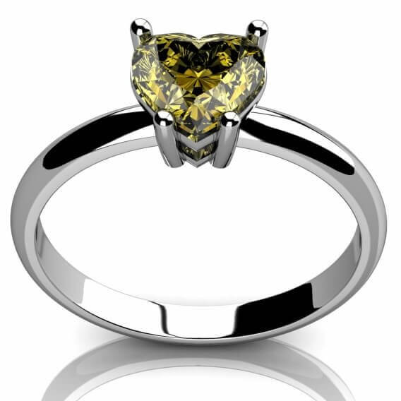 טבעת יהלום סוליטר בעיצוב לב צהוב זהב לבן