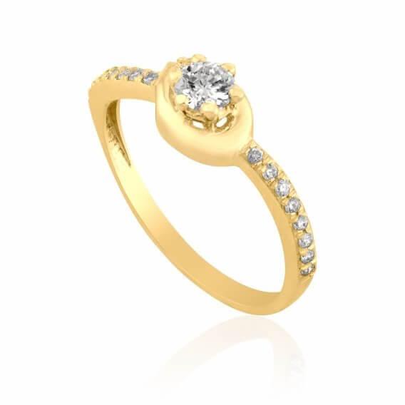 טבעת יהלום קלאסית בשילוב זהב לבן חצי קראט