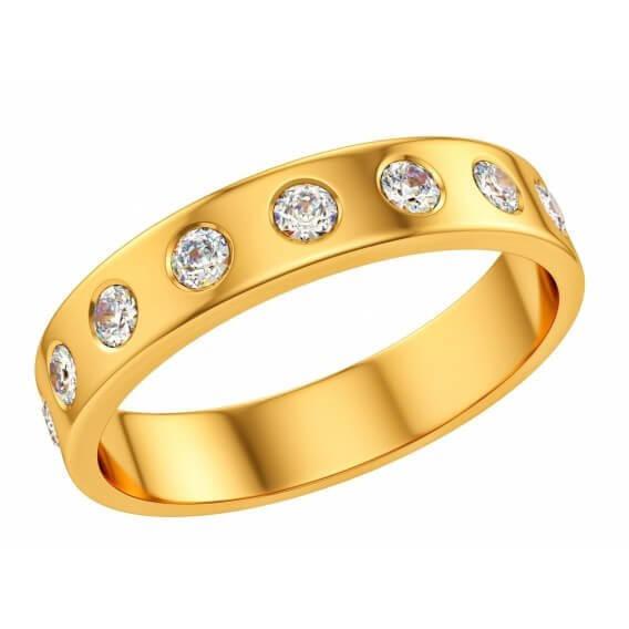 טבעת יהלום קלאסית בשילוב זהב צהוב פירנצה 42 נקודות