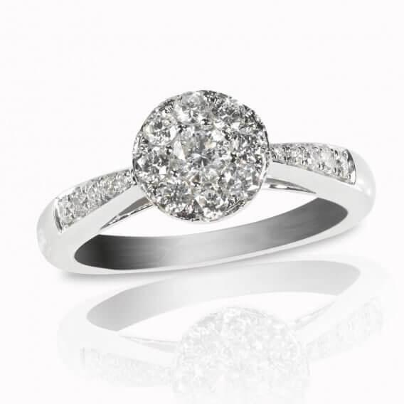 טבעת יהלום קלאסית מעוטרת זהב לבן רמינו 0.51 קראט