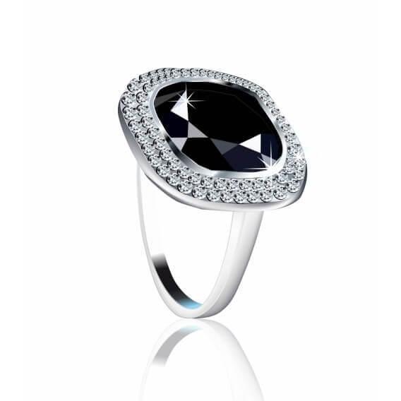 טבעת לגבר עם יהלום שחור ויהלומים מסביב 3.33 קראט - מאט