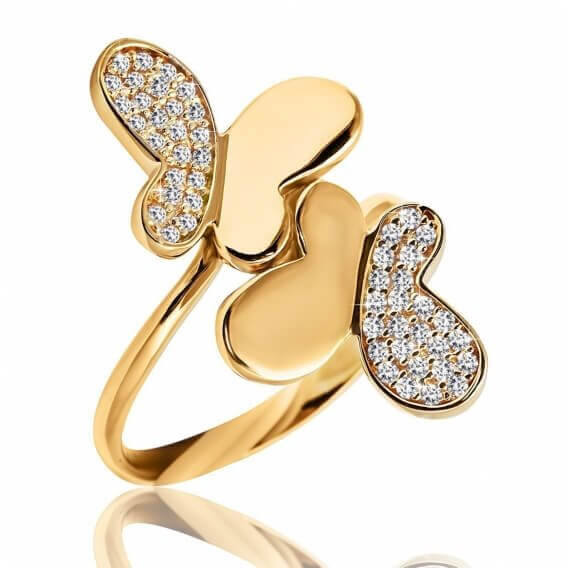 טבעת יהלומים בעיצוב אפקט הפרפר זהב צהוב 51 נקודות