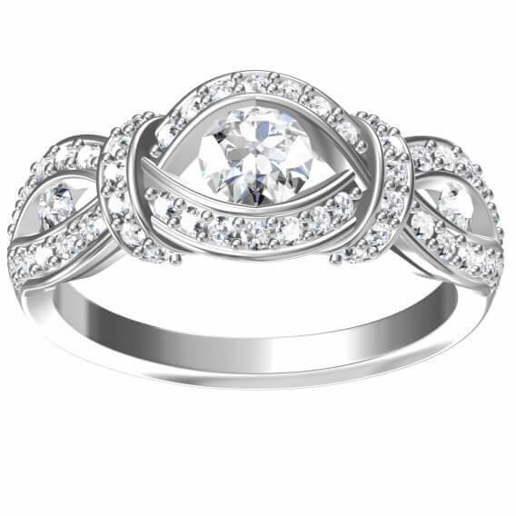 טבעת יהלומים בעיצוב עין זהב לבן 1.35 קראט