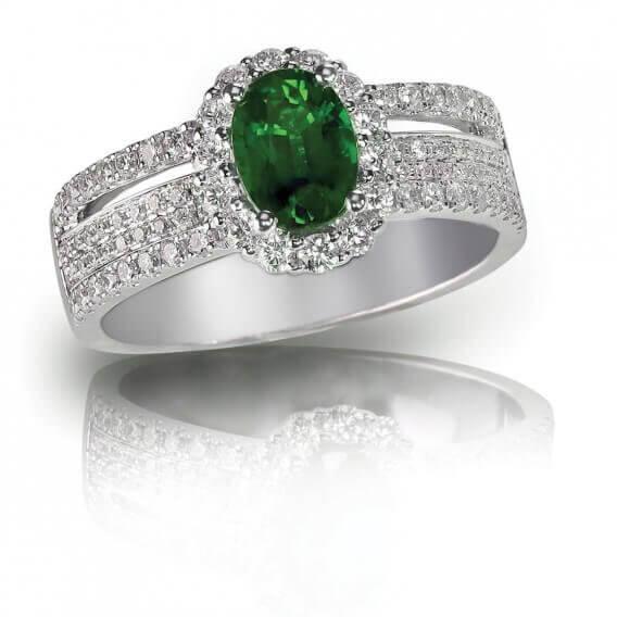 טבעת יהלומים בשילוב אבן חן גדולה 1.07 קראט - אמנדה