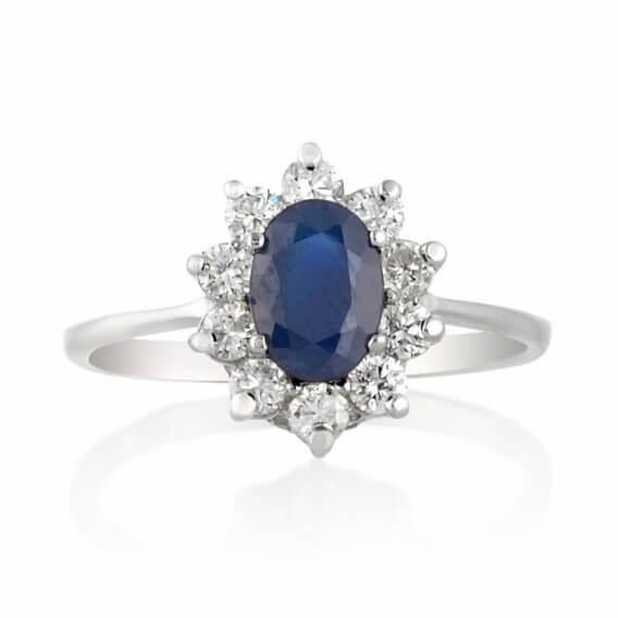 טבעת יהלומים בשילוב אבן ספיר כחולה רוז 1.68 קראט זהב צהוב