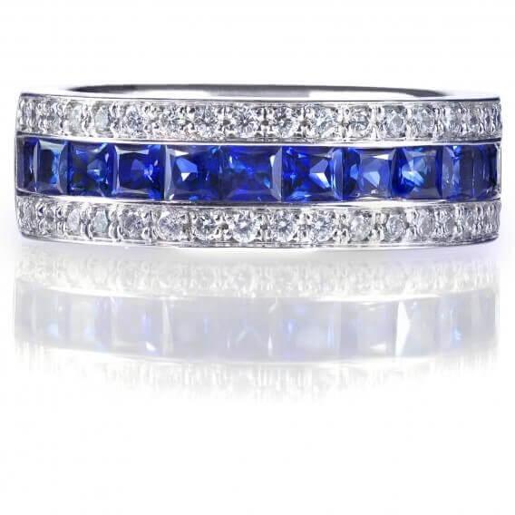 טבעת לגבר עם יהלומים בשילוב אבני חן כחולות קראט - קלי