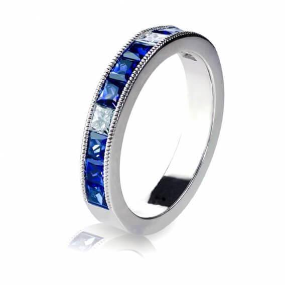 טבעת יהלומים לגבר בשילוב אבני חן כחולות 0.57 קראט - דין