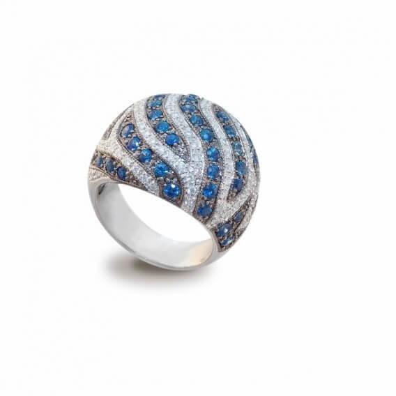 טבעת יהלומים בשילוב אבני חן ספיר 1.02 קראט