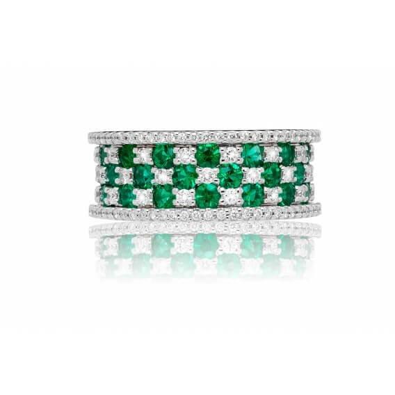 טבעת לגבר עם יהלומים ואבני חן ירוקות 1.48 קראט - תומאס